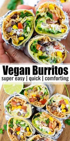This vegan burrito is stuffed with brown rice black beans corn vegan sour cream and guacamole Vegan burritos are the perfect comfort food And they re so easy to make Make them for a simple weeknight dinner Find more vegan recipes at vegan veganrecipes Tasty Vegetarian Recipes, Vegan Lunch Recipes, Vegan Foods, Vegan Dishes, Paleo, Healthy Recipes For Dinner, Healthy Meals, Yummy Vegan Recipes, Easy Healthy Vegetarian Recipes