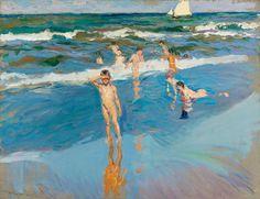Joaquín Sorolla, Children in the sea, Valencia beach, 1908 Valencia Beach, Madrid, Digital Museum, Biarritz, Spanish Artists, European Paintings, Beach Scenes, Boy Art, Skagen