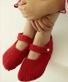 red knit slipper socks