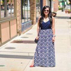 JCrew Factory maxi dress, red perforated BCBGeneration pumps