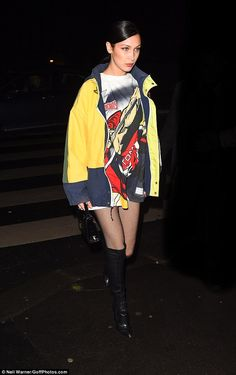 Model material: Bella Hadid proved her selection of stylish ensembles has still not run out on Tuesday, as she stepped out in Paris, France in another sexy but chic look