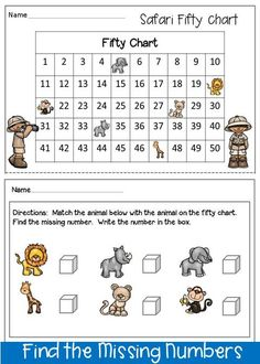 FREEBIE. This is an activity to find the missing numbers. The 50 chart was created to help the children who have not mastered higher numbers yet. Kindergarten, Homeschool.