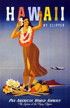 Hawaii by Clipper poster.