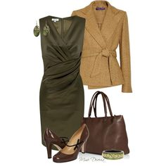 """Green wrap dress"" by madamedeveria on Polyvore.  Gorgeous olive and brown color combo for the office."