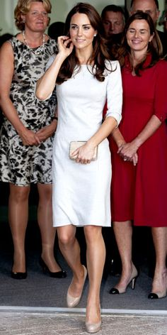 Catherine Middleton WHAT SHE WORE Catherine Middleton made a royal appearance in a felt Amanda Wakeley LWD and nude pumps.