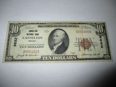 $10 1929 CANNELTON INDIANA IN NATIONAL CURRENCY BANK NOTE BILL! CH. #9682 XF
