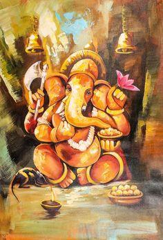 History of Ganesh Chaturthi In India, every Hindu loves to celebrate the Ganesha Utsav a. Ganesha Drawing, Lord Ganesha Paintings, Lord Shiva Painting, Ganesha Art, Ganesh Tattoo, Religious Paintings, Indian Art Paintings, Abstract Paintings, Watercolour Painting