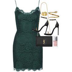 Green lace bodycon dress + black stilettos