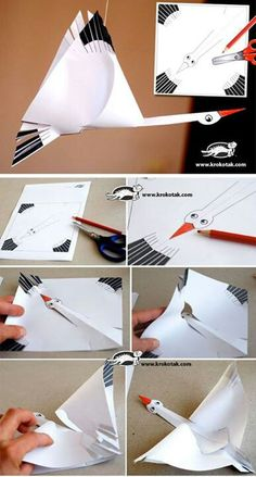 PAPER STORK + Template _use this as an example - kids draw their own birds cut and assemble as shown Paper Art, Diy Paper, Paper Crafts, Storch Baby, Papier Kind, Diy For Kids, Crafts For Kids, Tarjetas Diy, Art N Craft