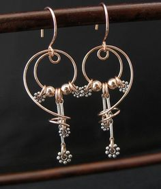 Artisan Mixed Metals Rose Goldfill Wire Earrings, Free Form, Sterling Silver Beads