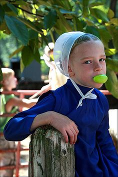 Amish girl with green bubble gum. by Mashuga, via Flickr