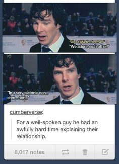 Benedict Cumberbatch on Martin Freeman. Sherlock Bbc, Sherlock Fandom, Benedict Cumberbatch Sherlock, Watson Sherlock, Jim Moriarty, Sherlock Quotes, Johnlock, Drarry, Martin Freeman