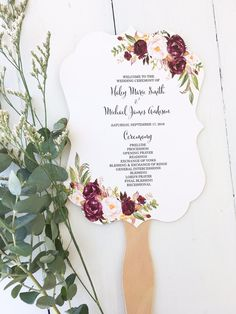 Wedding Program Fan Marsala