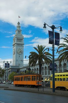 Historic San Francisco street cars in front of the Ferry Building.