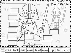 Have your students write in the label words for different Star Wars characters Kindergarten Freebies, Kindergarten Reading, Camping Activities, Preschool Activities, Star Wars Classroom, Star Wars Crafts, Writer Workshop, Star Wars Party, Star Wars Characters