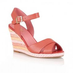 Womens Red Sheon Casual Sandal Crossover Strap Multi Coloured Espadrille Wedge Sandal