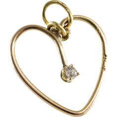Diamond Heart Pendant | 14K Yellow Gold | Vintage Solitaire England - Go for Vintage Gold! www.rubylane.com @rubylanecom