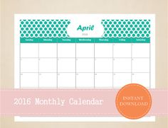 Printable 2016 Monthly Calendar Editable by MBucherConsulting Monthly Planner, Printable Planner, Printable Calendars, Printables, 2016 Calendar, Trip Planning, Notes, Messages, How To Plan