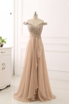 Unique off shoulder prom dress, beaded champagne chiffon ruffles prom dress, ball gown 2017