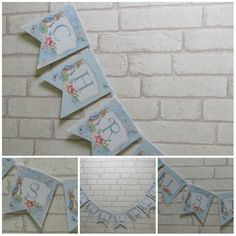 Blue Floral Peter Rabbit Christening Bunting Banner Bunny