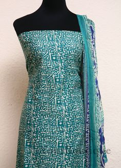 PK071-5 Blue and green pure cotton top with printed blue colour bottom and pure chiffon dupatta.