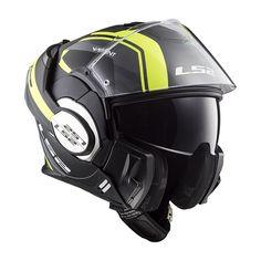 Casco convertible LS2 Helmets FF399 VALIANT LINE Matt Black H-V Yellow - Sotocasco Windproof de regalo