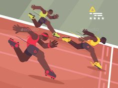Athletics competition sprint. Athlete runs to finish line. Vector illustration. Vector files, fully editable. Includes AI CS5, EPS