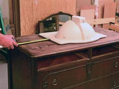 Turn a Vintage Dresser Into a Bathroom Vanity : Decorating : Home & Garden Television Dresser Vanity Bathroom, Vanity Redo, Bathroom Vanity Lighting, Bathroom Furniture, Bathroom Vanities, Pink Vanity, Makeup Vanities, Chic Bathrooms, Vanity Ideas