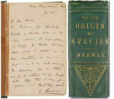 Rare books. First-edition copy of On the Origin of Species (1859) with a letter signed by Charles Darwin on the inside cover.