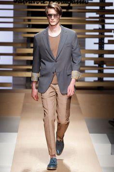 Printed detailing at blazer cuff  Salvatore Ferragamo   Spring 2015 Menswear Collection   Style.com