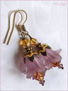 Violet bells - lucite flower earrings