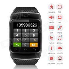 "ZGPAX S12 Bluetooth V3.0 Sports Smart Watch w/ 1.54"" Screen, Sync Android Phone, Pedometer - Black"