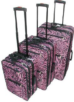 Pink Zebra Stripe 3-Piece Luggage Set