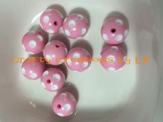 Ten (10) 20mm pink bubblegum/chunky beads with white polka dots by CraftyCreationsByLB on Etsy