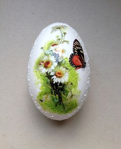 Goose White Egg Madeira Hand Decorated Painted Easter Egg with Decoupage