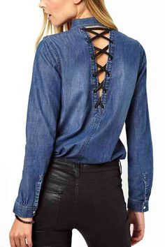 Blue Denim V Cut Lace Up Back Fashion Shirt #Blue #Shirt #maykool