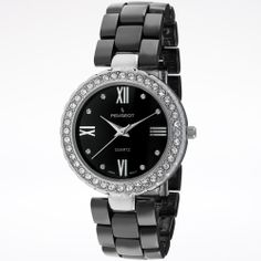 Ceramic and Crystal Watch - Black & Silver Swarovski crystals.   $60.00 $295.00 retail price  80% Off!That's a savings of $235.00!