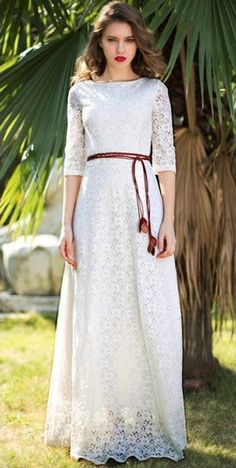 Modest Lace Rope Dress with sleeves (Pre-Order)