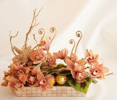 Spring floral centerpiece by Preston Bailey: pink orchids