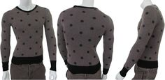 Dark grey merino wool polka dot slim fit #sweater made in Italy on sale. Give warm to your body in this winter. So get it now. #Menfashion #Clothing #Shopping
