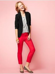 Option 3 - brightly colored trousers bring personality without being sexual or overt. This would be a summer option, team with comfortable flats as you are on your feet all day.