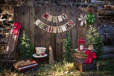 """Christmas mini. I have a chalkboard banner that looks similar to this.. we could write """"Merry Christmas""""."""