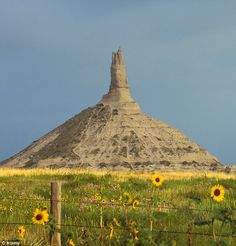 Chimney Rock, Nebraska: a natural structure taller than the Statue of Liberty, early pioneers used this as a compass on their route west on the Oregon Trail.
