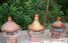 Tagines in a row, Setti Fatma, Ourica Valley, Atlas Mount, Morocco Greek Recipes, Kitchen Recipes, Jar, Morocco, Decor, Jars, Decorating, Dekoration, Greek Food Recipes