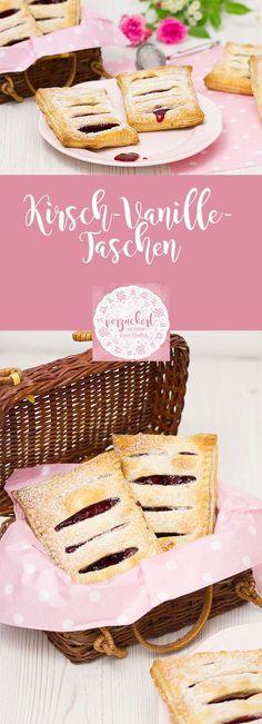 Rezept für leckere Kirsch-Vanille-Taschen aus Blätterteig. Sie sind perfekt für das nächste Picknick oder zum gemütlichen Kaffeetrinken.