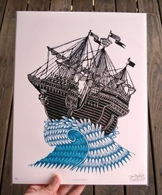 Wave Jumper woodblock print, $45