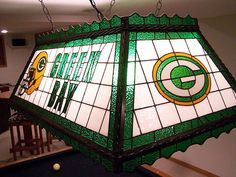 Green Bay Packer Stained Glass Pool Table Rec Room Light