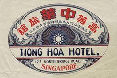 Going Hoa Hotel - Singapore Vintage Typography, Typography Letters, Typography Logo, Graphic Design Typography, Lettering, Logo Design, Luggage Stickers, Luggage Labels, Vintage Graphic Design