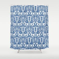 Customize your bathroom decor with unique shower curtains designed by artists around the world. Made from 100% polyester our designer shower curtains are printed in the USA and feature a 12 button-hole top for simple hanging. The easy care material allows for machine wash and dry maintenance. Curtain rod, shower curtain liner and hooks not included. Dimensions are 71in. by 74in. #swedish #folk #art #mid-century #mcm #blue #dala #horse #mia #miavaldez #society6 #shower #curtain