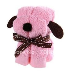 ¡Shiping libre!  Pañuelo facial del perro de la forma del diseño de la toalla decorativa cómoda del algodón (color de rosa)